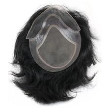 Perruque toupet pour hommes, cheveux humains, couleur 1B, Mono Base, Durable, australie, système de remplacement de cheveux avec PU autour de la dentelle, 6 pouces