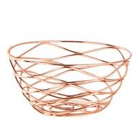 Ev ve Bahçe'ten Saklama Tepsileri'de Iron Fruit Basket Holder Storage Snack Basket Household Tea Table Fruit Basket for Home Dining Table Decor (Rose Gold)