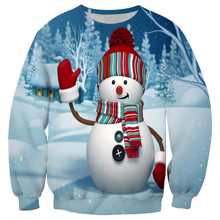 Christmas Novelty Autumn Winter Blouses Clothing Ugly Christmas Sweater Santa Claus Printed Loose Sweater Men Women Pullover