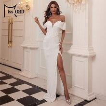 Maxi-Dress Shoulder-Sequin-Dress Backless Missord Sexy High-Split Women Summer M0845