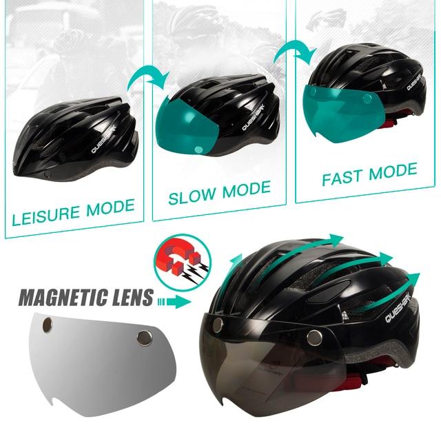 Queshark profissional das mulheres dos homens ciclismo capacete com lente removível mtb bicicleta capacete com lanterna traseira l tamanho 58cm-64cm qe120 4