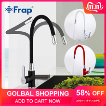 FRAP Kitchen Faucet Taps Black-Color Cold Hot-Water Flexible Single-Handle Red White