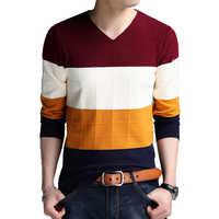 BROWON Brand-maglione degli uomini di Autunno Manica Lunga Maglie e Maglioni Nuovo Con Scollo A V Slim Fit Maglione A Righe di Fondo Maglie e Maglioni di Grandi Dimensioni m-4XL