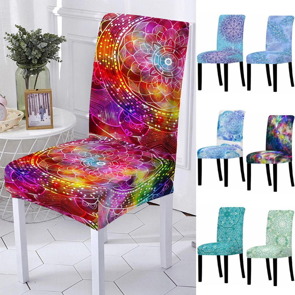 Elastic Spandex Mandala Flower Chair Cover High Back Chair Protector Case For Resterant Wedding Party Dining Room Decoration Suitable For Men, Women, And Children