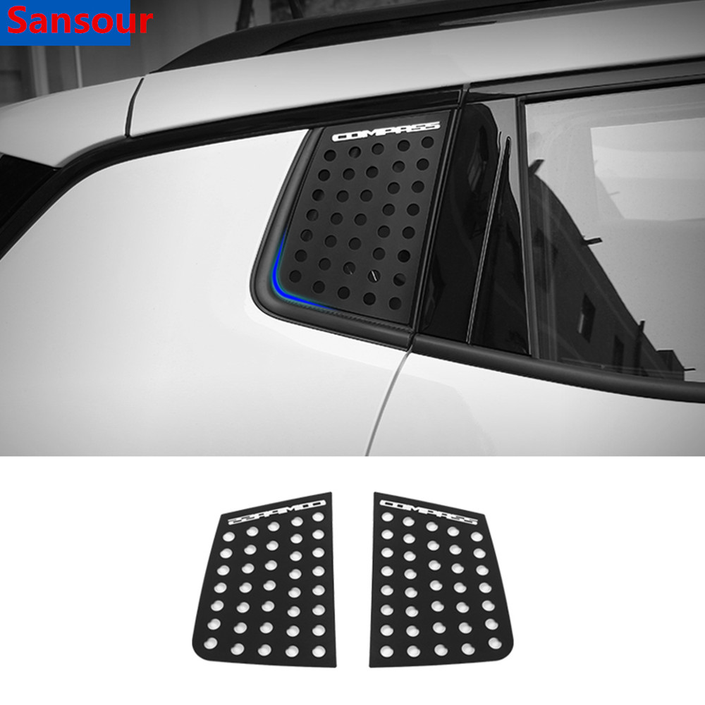 Sansour Car Exterior Rear Window Triangle Glass Decoration Cover Trim Stickers for <font><b>Jeep</b></font> <font><b>Compass</b></font> 2017 Up Car <font><b>Accessories</b></font> Styling image