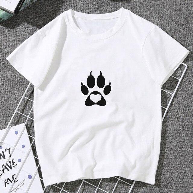 Nouveau diable griffe mignon amour chien patte impression T-shirt femmes 2020 été décontracté Vintage T-shirt haut tendance chemise femme T-shirt Tumblr