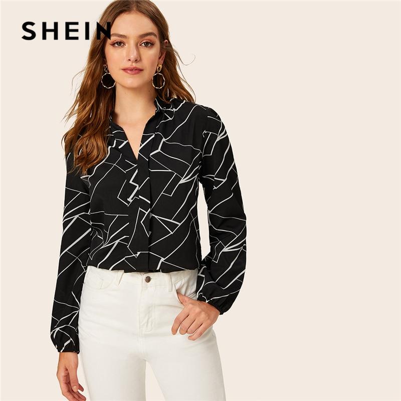 SHEIN Turn Down Collar Random Stripe Print Elegant Blouse Shirt Women Tops 2019 Autumn Black Long Sleeve Office Ladies Blouses