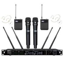 Leicozic AD4D ميكروفون لاسلكي المهنية 2 يده + 2 سماعة هيئة التصنيع العسكري ثنائي القناة ميكروفونو ميكروفون Micro645 695Mhz