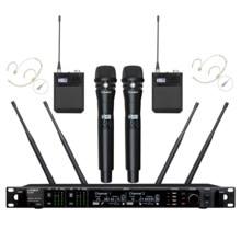 Leikozic ad4d microfone sem fio professionnel 2 handheld + 2 fone de ouvido microfone duplo canal microfone Micro645-695Mhz