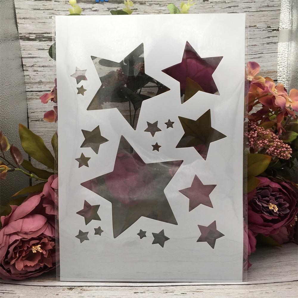 29*21cm A4 Shine Stars DIY Layering Stencils Wall Painting Scrapbook Coloring Embossing Album Decorative Template