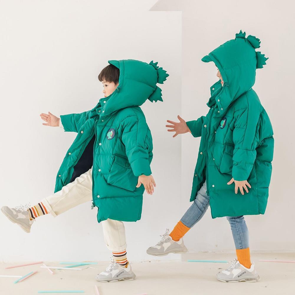 Fashion Winter Jackets For Girls Down Coat Hooded Dinosaur Design Kids Jackets Thicken Boys Coat Children Outerwear Clothes
