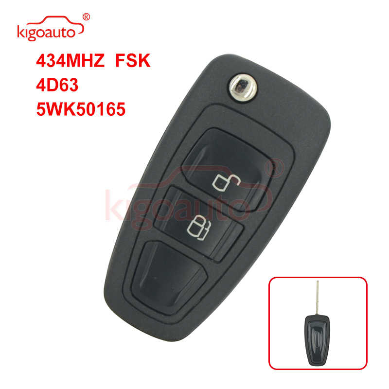Kigoauto 5WK50165 Flip Key 2 Button 434 Mhz Fsk 4D63 Chip Voor Ford Ranger 2011 2012 2013 2014 2015