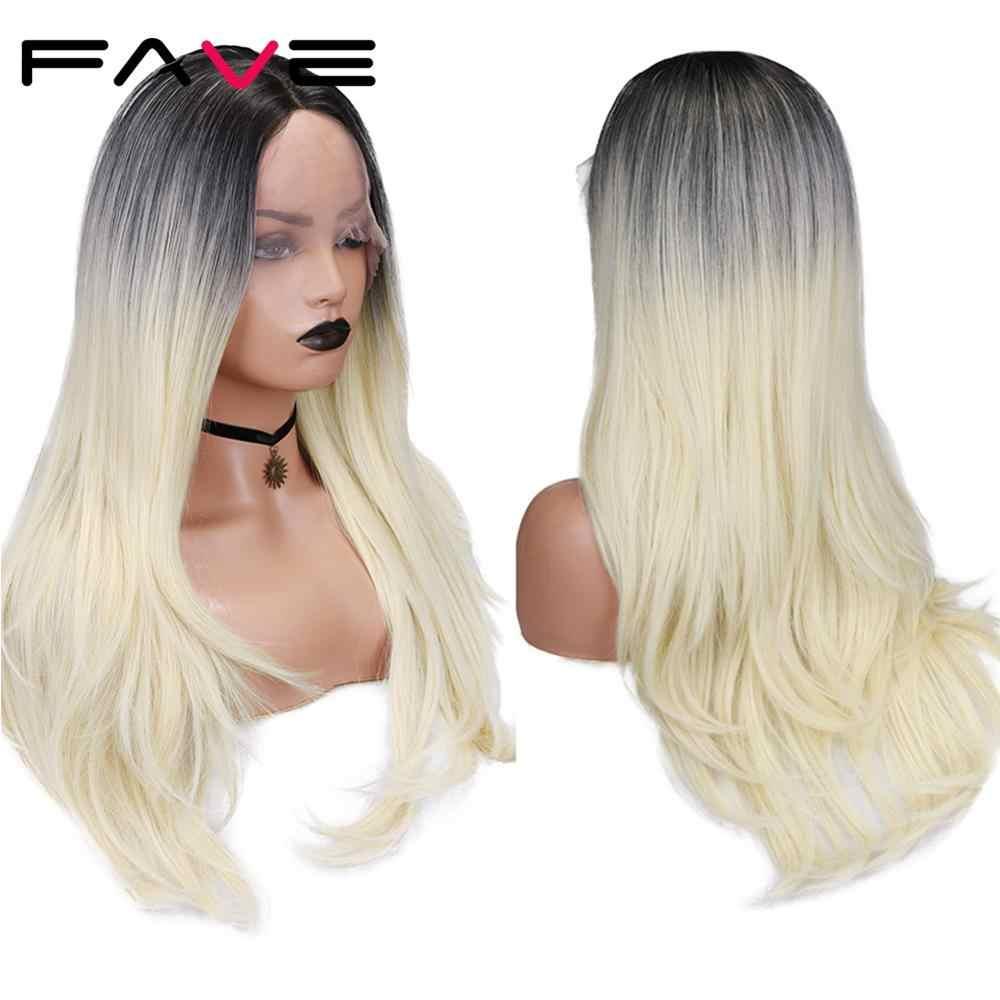 Fave Lange Golvende Lace Front 31*9 Cm Synthetische Pruik Zwart 613 Blonde Voor Zwart Wit Vrouwen Midden Deel warmte Temperatuur Vezels Haar