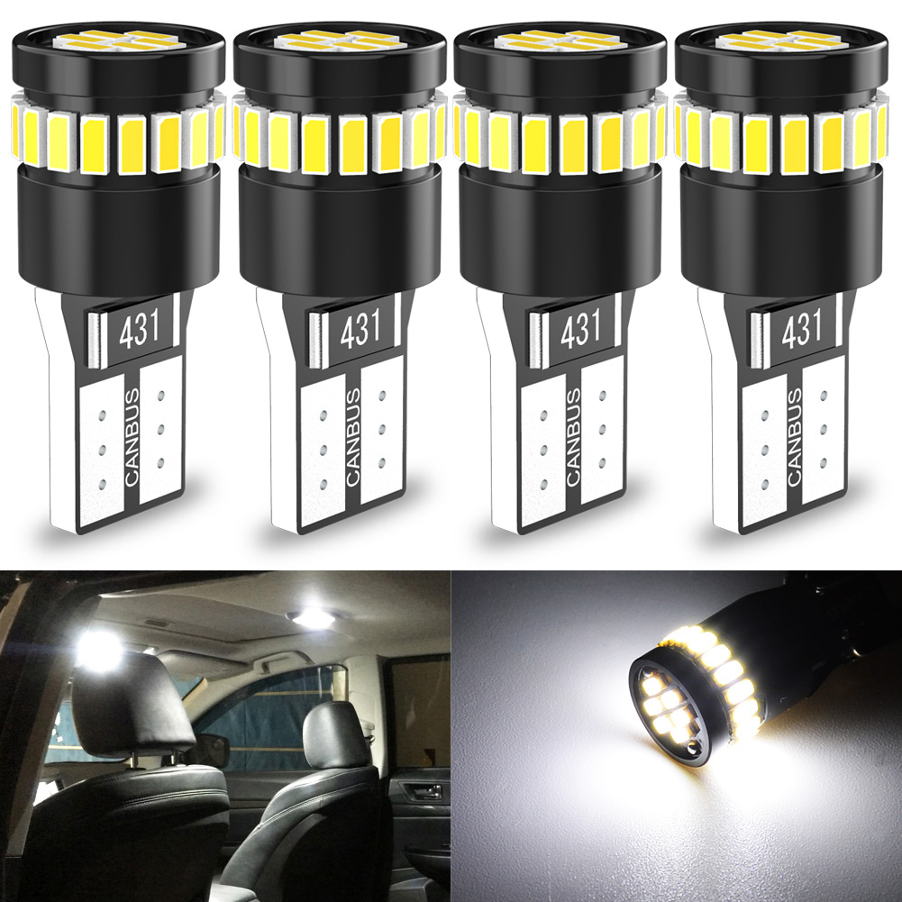 4 bombillas LED Canbus W5W T10 para luces de posición de aparcamiento, luz de techo de mapa Interior de 12V, lámpara automática blanca, roja, azul o negra, 4 Uds.