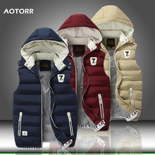 Winter Mannen Hooded Vest Warme Mouwloze Jas heren Parka Vest Effen Rits Jassen Casual Coat Plus Size S-5XL winterjas heren(China)
