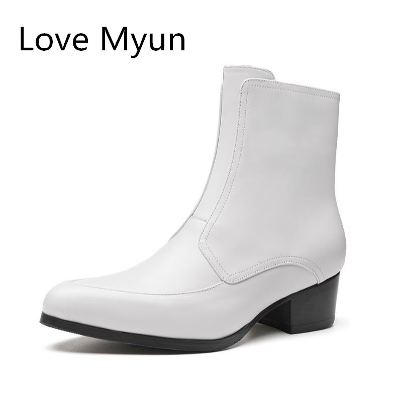 New Autumn White Genuine Leather Chelsea Boots Men High Heels Black Wedding Drss Shoes Men's Warm Plush Snow Boots Size 36-44