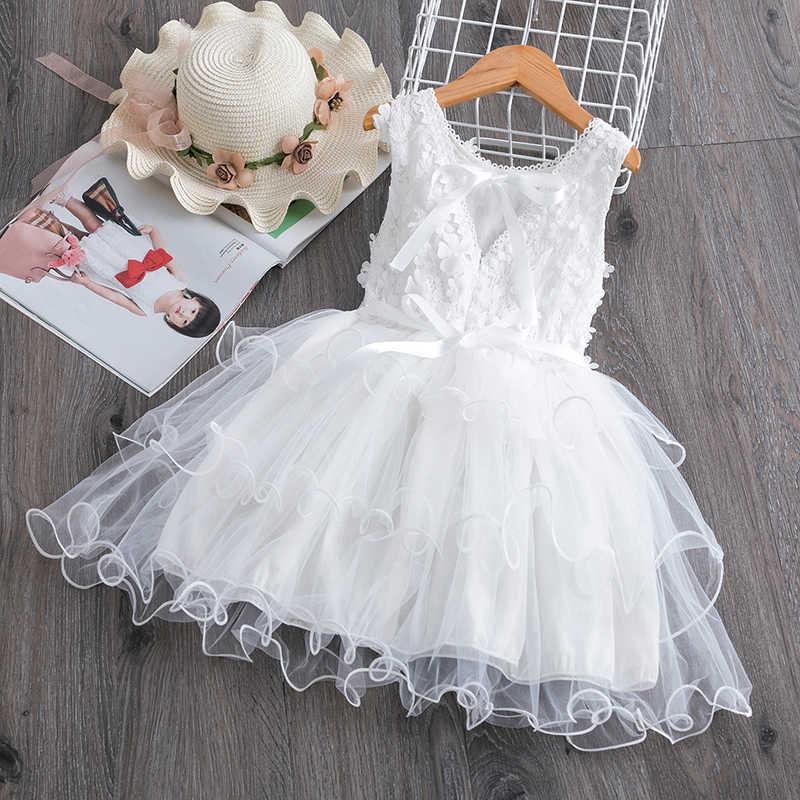 ฤดูร้อนเด็กวัยหัดเดินลูกไม้เค้กชุดเด็กแขนกุดตาข่ายดอกไม้งานแต่งงานชุดเด็กเสื้อผ้าเด็กทารก 3 ถึง 8 ปี