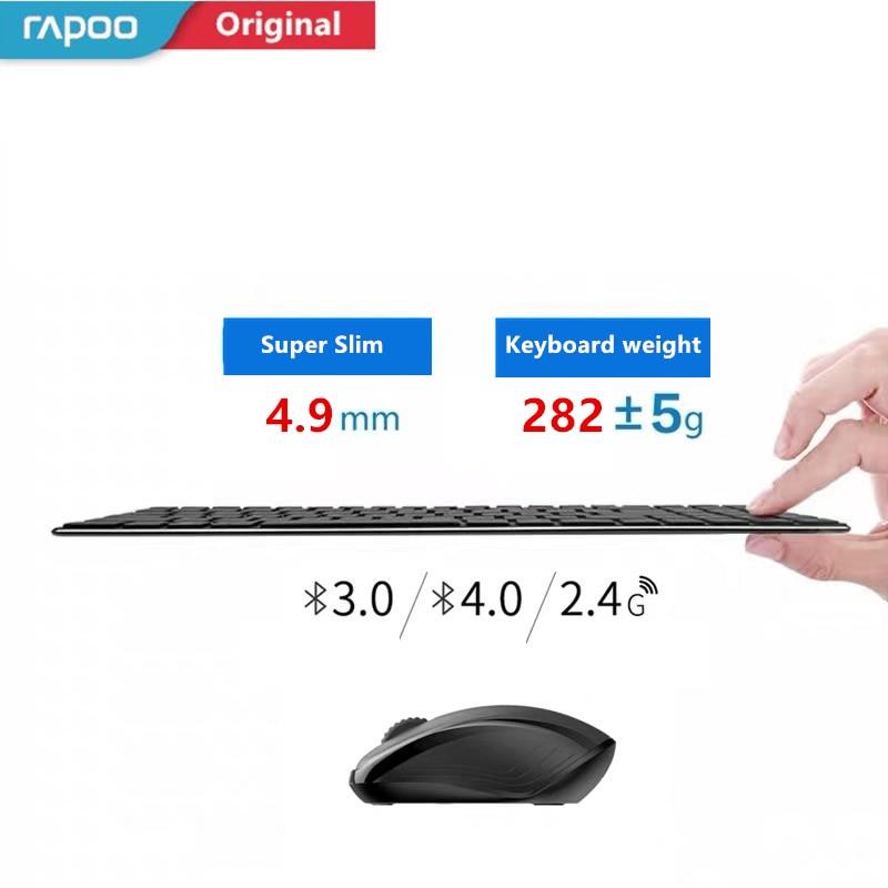 Original Rapoo 9060 9060M Keyboard and Mouse Set Ultra Thin 2 4G Wireless Optical Keyboard and