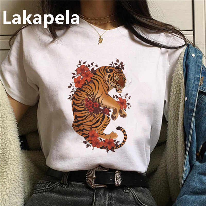 2020 sommer Tiger Cartoon Grafik T-shirt Frauen Harajuku T Shirts Kurzarm Ropa mujer Top Tees Koreanische T-shirt Drop verschiffen