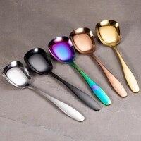 304 # de aço inoxidável utensílios de mesa colher de fundo liso multicor|Col. arroz| |  -