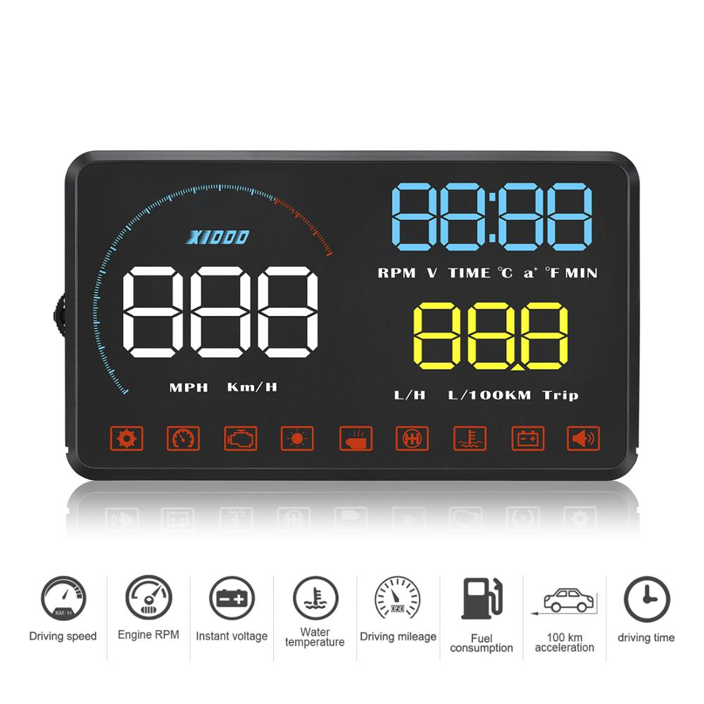 Konrisa 5.5in ODB2 Display Car Speedometer On-board Computer Head Up Display Diagnostic Tool Fuel Consumption Clear Error Code