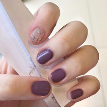 24pcs Rattan Purple Shimmering Powder Short Temperament Wearable Fake Nails Easy Operation Daily Decorative false fingernails