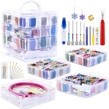 MIUSIE Magic Embroidery Punch Needle Hoop Starter Kit Stitching Knitting Floss