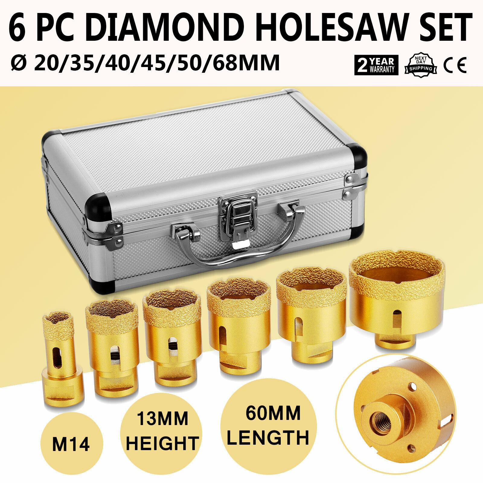 Diamond Hole Saw Set Of 6 Professional Diamond Hole Cutters Dimante Coating 0.8 1.4 1.6 1.8 2 2.7Inch