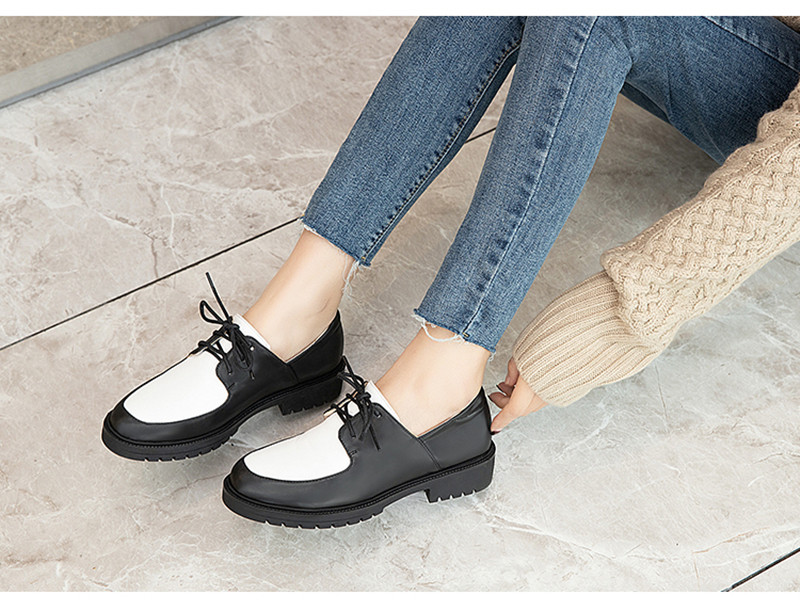 2020 British Style Soft Leather Women Flats Oxfords Black White Flat Oxford Shoes For Woman Round Toe Student Brogue Shoes (12)