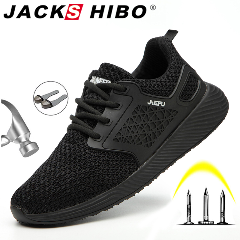 Jackshibo Men Safety Work Shoes Boots Male Autumn Construction Work Shoes Steel Toe Indestructible Safety Work Boots Sneakers