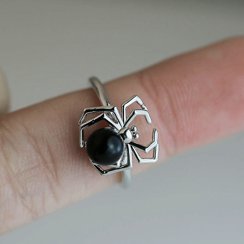 Huitan Fashion Spider Rings Funny Birthday Gift For Girlfriend Cute Black Tummy Animal Midi Rings Factory Wholesale Lots&Bulk