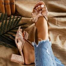 Kcenid Dolce bowtie oro slipper pattini delle donne di estate tacchi alti ciabatte diapositive femminile peep toe block tacco pantofole delle donne di formato 35 42