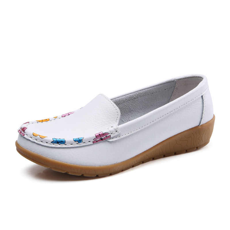 Women Flat With Soft Shoes Genuine Leather Comfort Breathable Comfort Spring Summer Ladies Shoes