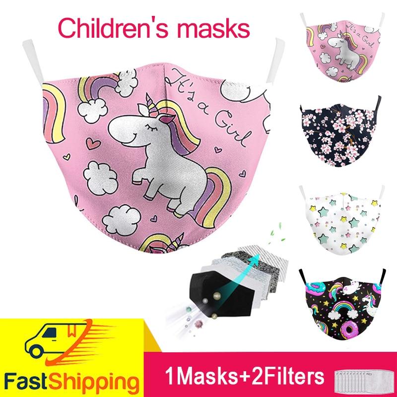 Маска с милым рисунком розового мультяшного единорога, Детские маски, многоразовая Тканевая маска, милая маска для рта, моющиеся тканевые п...