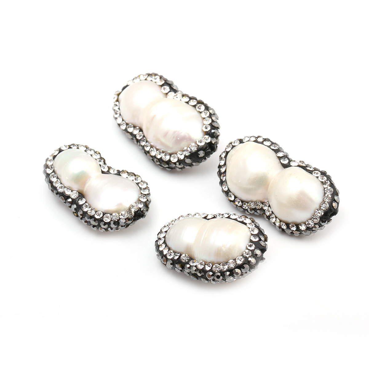 Wholesale Fashion Double Natural Pearl Pendants with Crystal Necklace Pendant for Jewelry Making DIY Bracelets 15x23mm