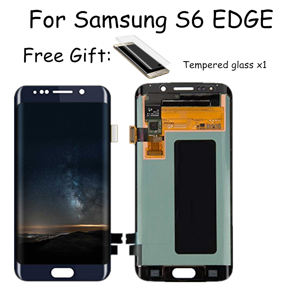 For Samsung Galaxy S6 Edge G925F LCD Display Touch Screen Digitizer Assembly 100% Super Amoled Burn-in Shdaow Screen Free Gift