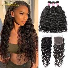 Nadula Hair mechones de cabello humano ondulado malasio, cabello humano 100% con cierre de encaje 4x4, Color Natural Remy