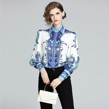 Banulin Women Tops And Blouses Lantern Sleeve Floral Print Ladies Shirts Blue White Fashion Women Blouses Runway Shirt Tops women s tops and blouses cotton white shirt line face print retro shirts with long sleeve white blouse lady spring summer xnxee