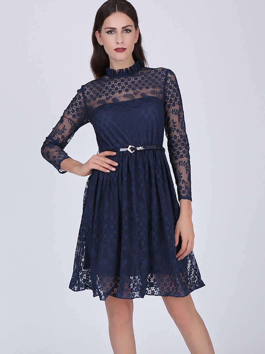 elegant women casual dress lace blue patchwork sashes dress long sleeves short mini homecoming&graduation dresses