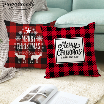 Fuwatacchi Merry Christmas Printed Pillow Case Red Black Plaid Cushion Covers For Home Chair Sofa Decorative Pillowcases 45*45cm hot sale merry christmas pillow case square pillow cases new year cartoon pillow covers size 45 45cm