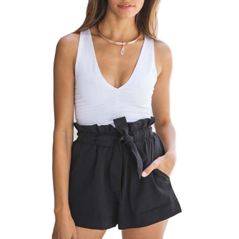 High Waist Black White Women Skirt Shorts Summer  Fashion Womens Bow Belt Short Hot Short NS