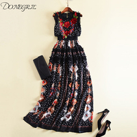 2019 New Arrival Black Color Sleeveless Flowers Print Floor Length Dress Elegant Evening Party embroidery Dress