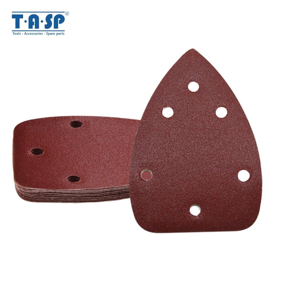 TASP 25pcs 140x100mm Palm Sander Sandpaper 6 Hole Hook & Loop Detail Sanding Disc Abrasive Tools Grit 60/80/120/180/240