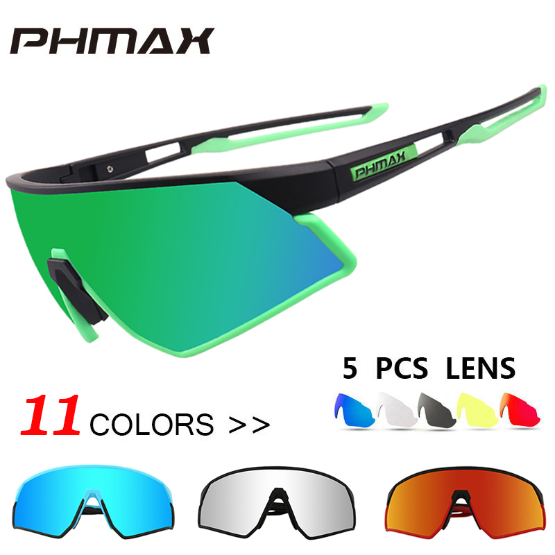 PHMAX Ultralight Cycling <font><b>Glasses</b></font> Polarized <font><b>5</b></font> <font><b>Lens</b></font> Outdoor Sports MTB <font><b>Bike</b></font> <font><b>Glasses</b></font> Men&Women Cycling Sunglasses Goggles Eyewear image