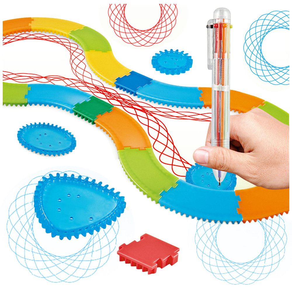 Children Fine Art Painted Template Ruler Intelligence Stationery Drawing Fantasy Spirograph Package Wholesale Flowers Qu Xian Ch