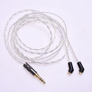 Image 5 - 1.2m (4ft) 5N OCC posrebrzane słuchawki kabel Upgrade dla Etymotic ER4P ER4B ER4S HiFi kabel 2Pin wtyczka