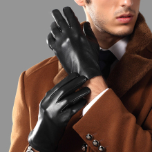Genuien Leather Male Gloves Spring Autumn Thin Driving Sheepskin Man Fashion Simple Classic Black TU0625A