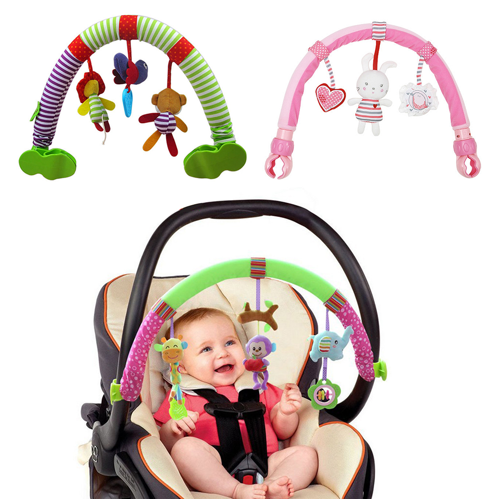 Baby Rattles Sponge Stroller Toy Bed Bell Toy Newborn Travel Play Arch Stroller Crib Accessory Soft Cute Handbell Bed Hanging