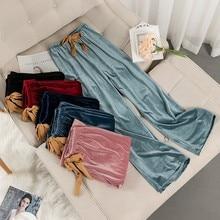 Nightwear Sleepwear Pajamas Bottoms Velvet Long Casual Women New Velour Autumn Winter