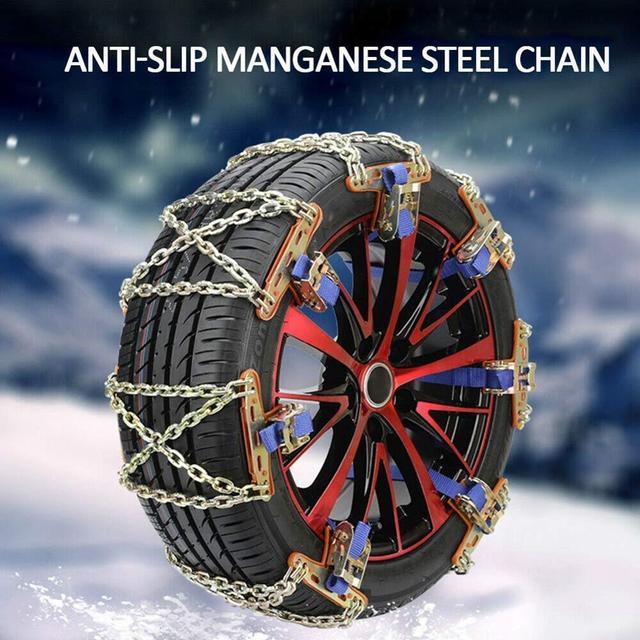 2pcs Car Anti-Skid Snow Chains Auto SUV Anti-Slip Tyre Wheel Winter Mud Roadway Safety Metal Belt